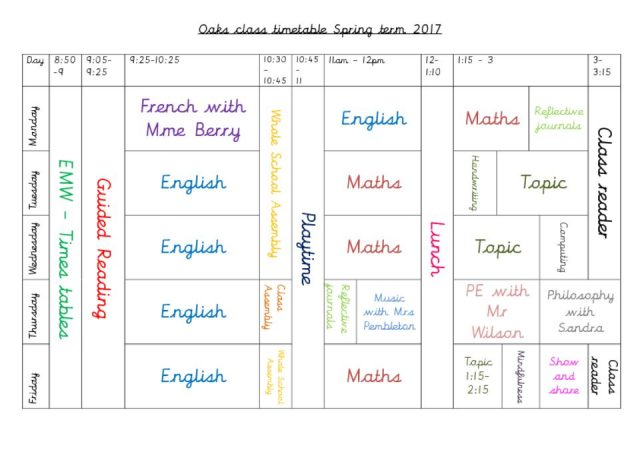thumbnail of Whole Class Timetable PDF